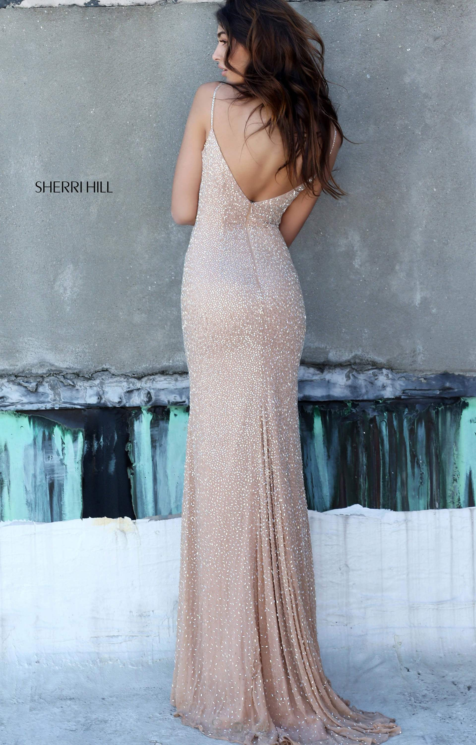 Sherri Hill 50860 - Fitted Gown with Open Back and Straps Prom Dress