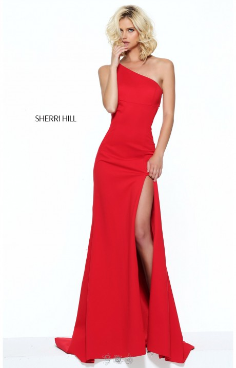 Sherri Hill 50861 Long Fitted One Shoulder High Slit