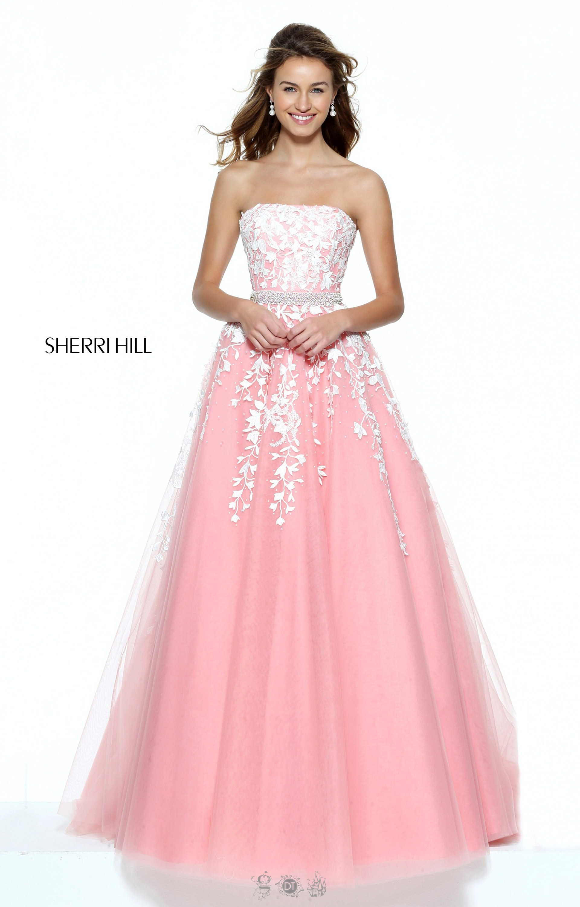 Sherri Hill 50864 - Strapless Ball Gown with Floral Prom Dress