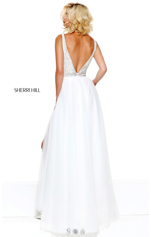 Sherri Hill 50868 Long A Line Straps Tule Skirt Beaded