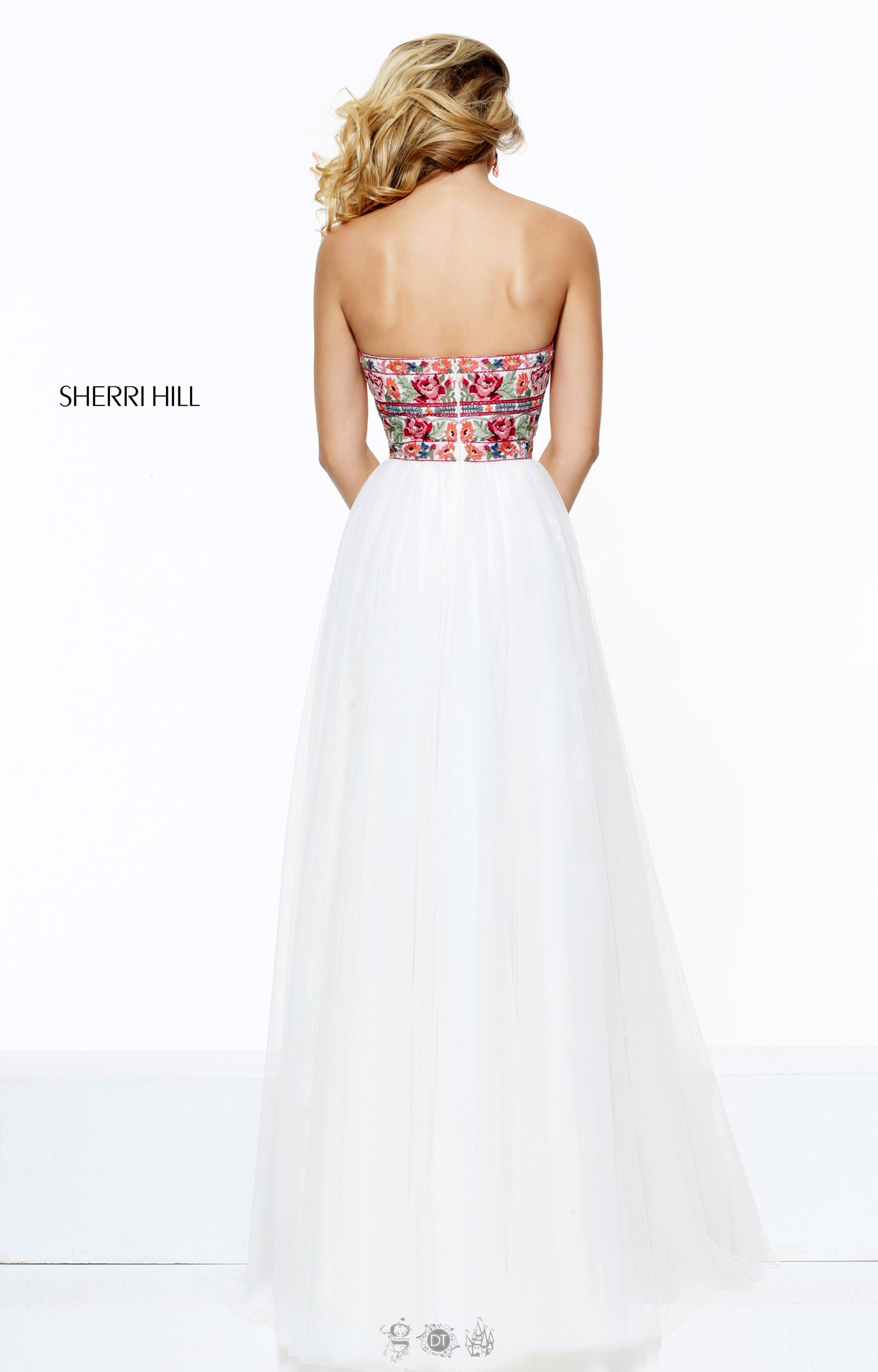 sherri hill 50873 long aline strapless lace tulle prom