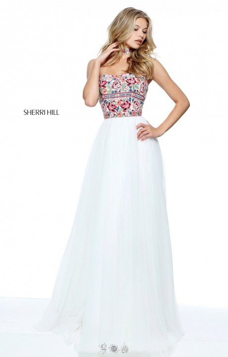 Sherri Hill 50873 Long A Line Strapless Lace Tulle Prom