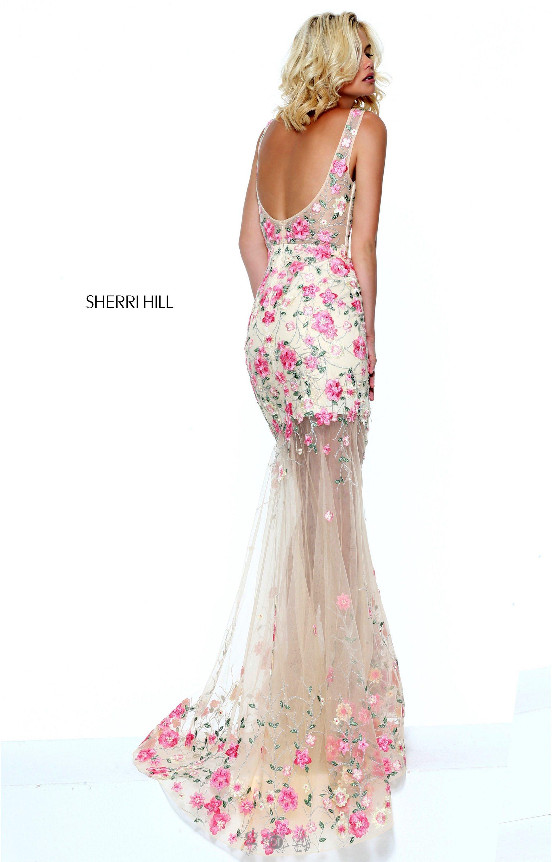 Sherri Hill 50914 V Neck Dress With Sheer Skirt Prom Dress