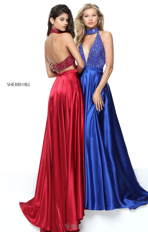 Beaded V-Neck Long Sherri Hill Prom Dress