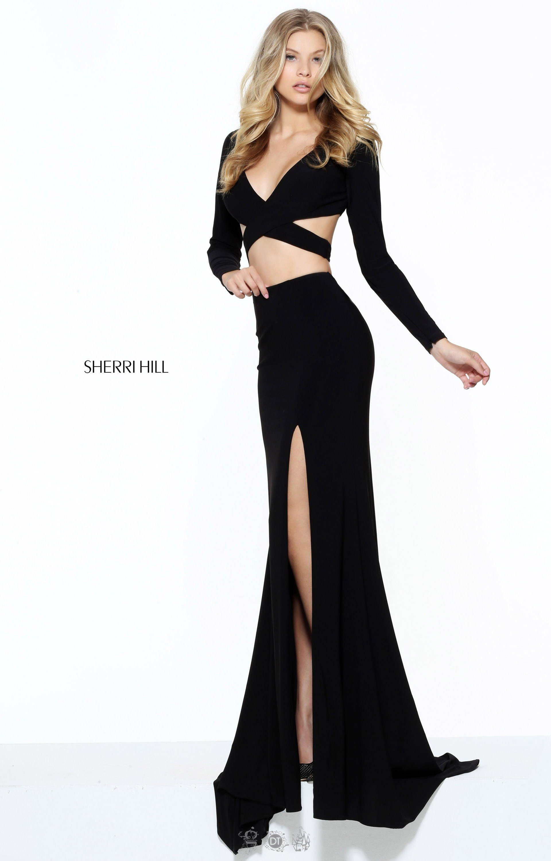 Sherri Hill 50920 Long Two Piece Fitted Long Sleeves