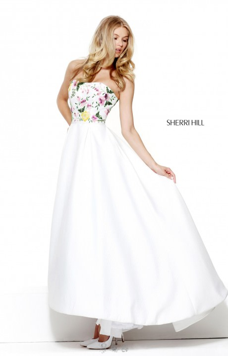 Sherri Hill 50926 High Low Ball Gown Strapless Floral