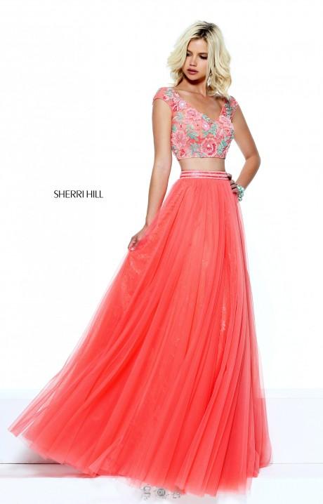 Sherri Hill 50932 Two Piece Floral Top Dress Prom Dress