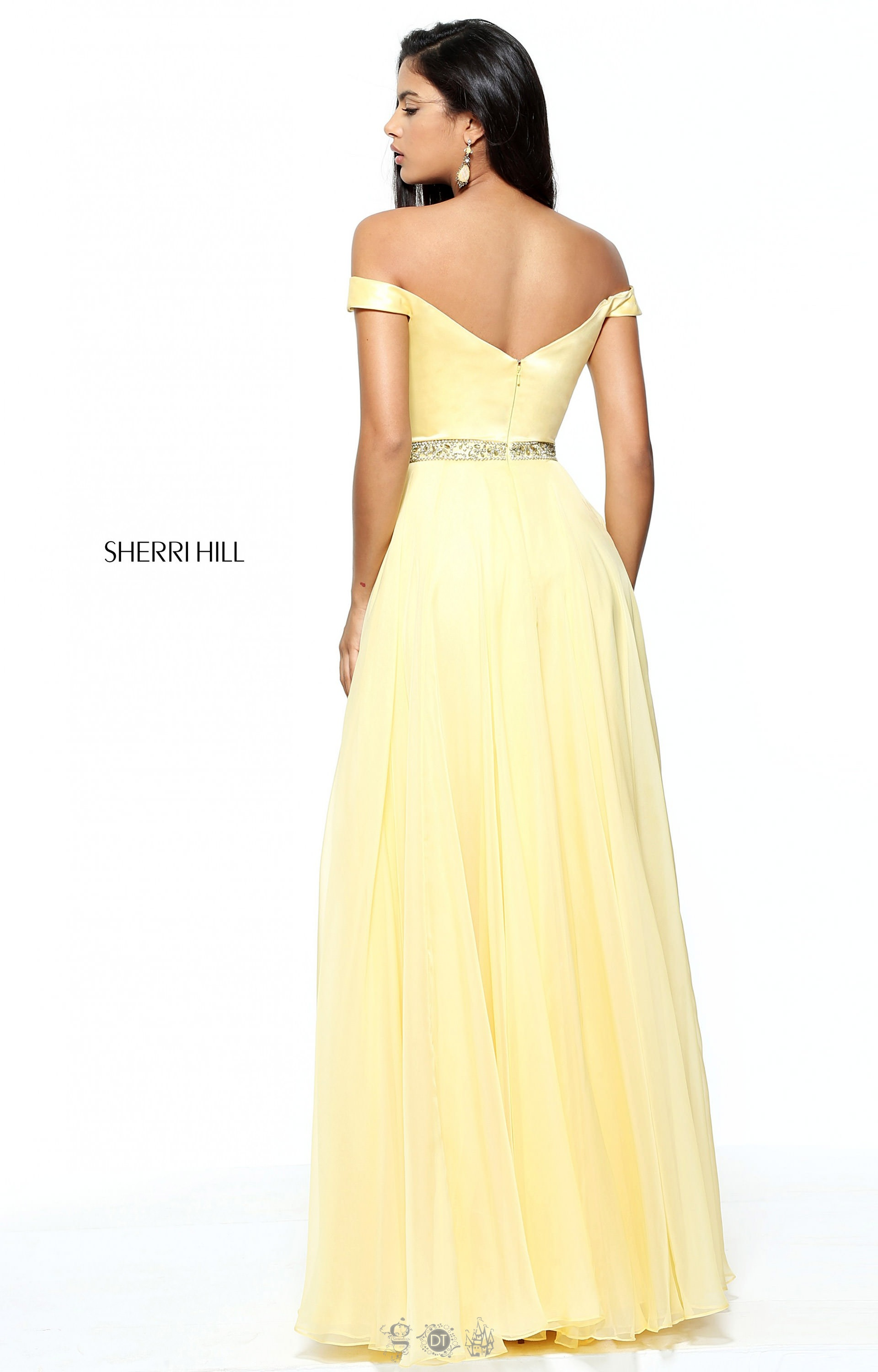 Sherri Hill 50943 - Off-the-Shoulder Chiffon with Satin Bodice and ...