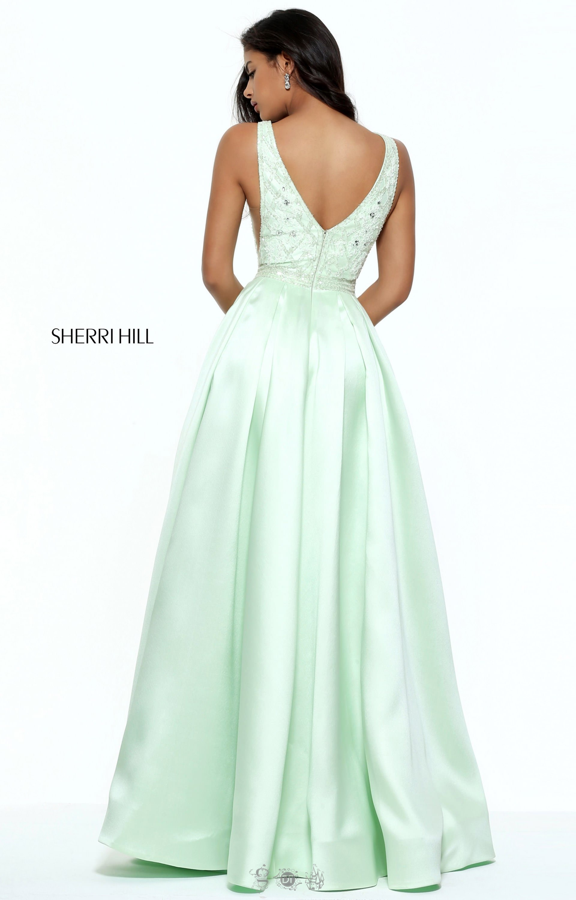 Sherri Hill 50964 Satin Ballgown With Beaded V Neckline
