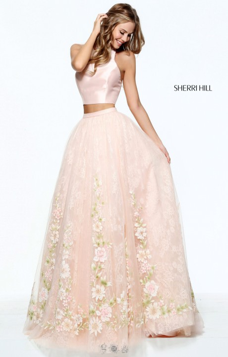Sherri Hill 50965 High Neckline 2 Piece Floral Dress
