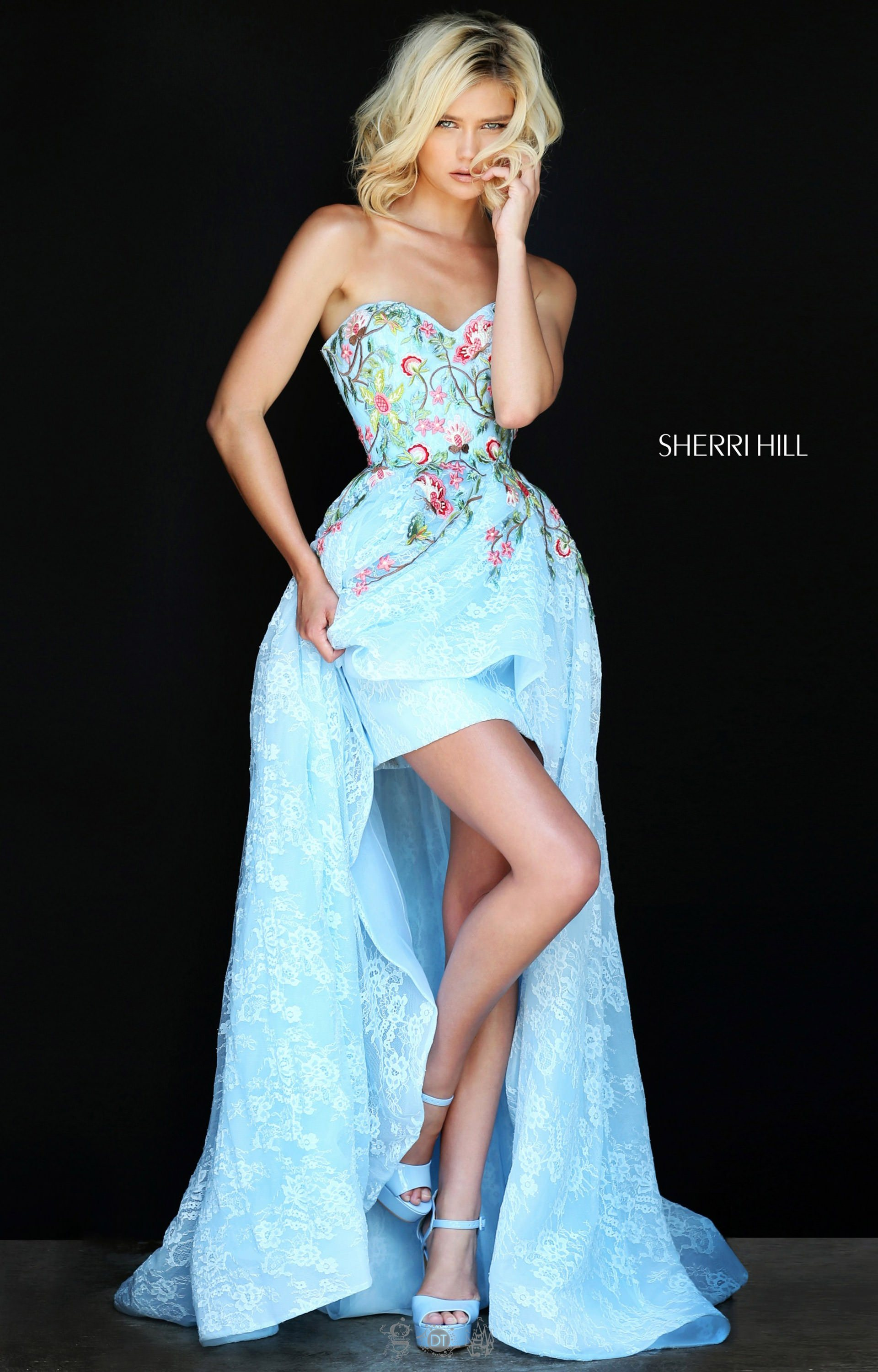 Sherri Hill 50966 Lace Strapless Sweetheart High Low