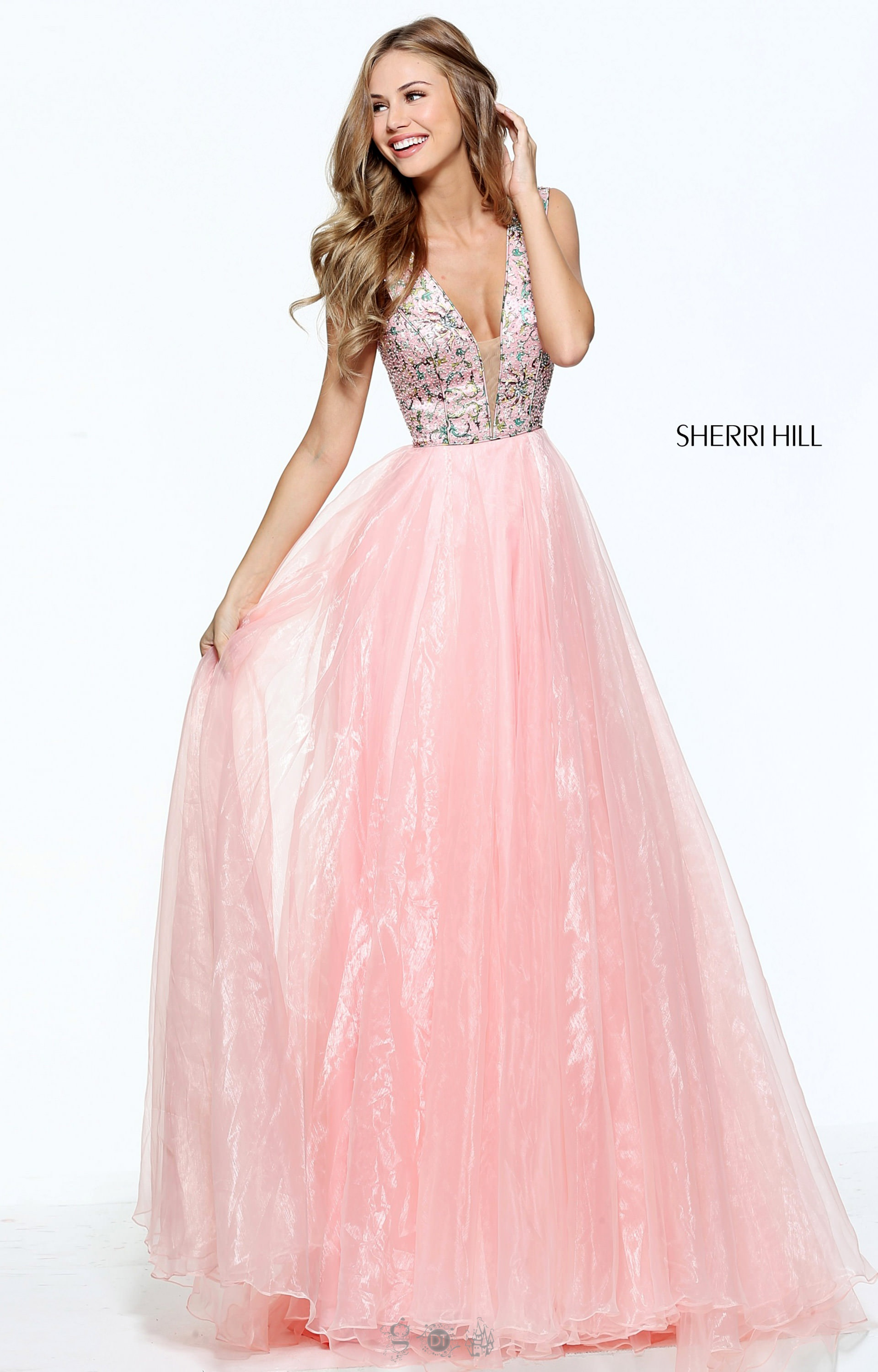 Sherri Hill 50970 - Long V-Neck A-Line Straps Open Back Organza Prom ...