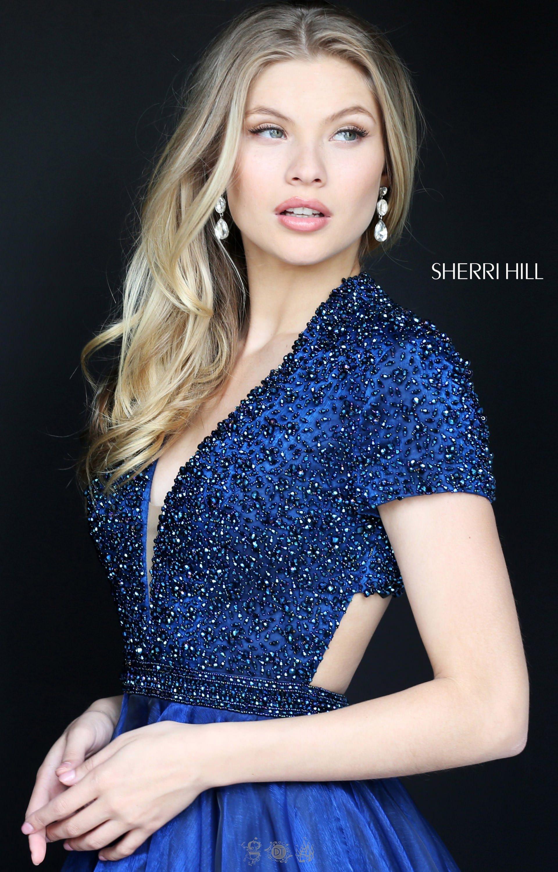 Sherri Hill 50976 Beaded V Neck Organza A Line Ballgown