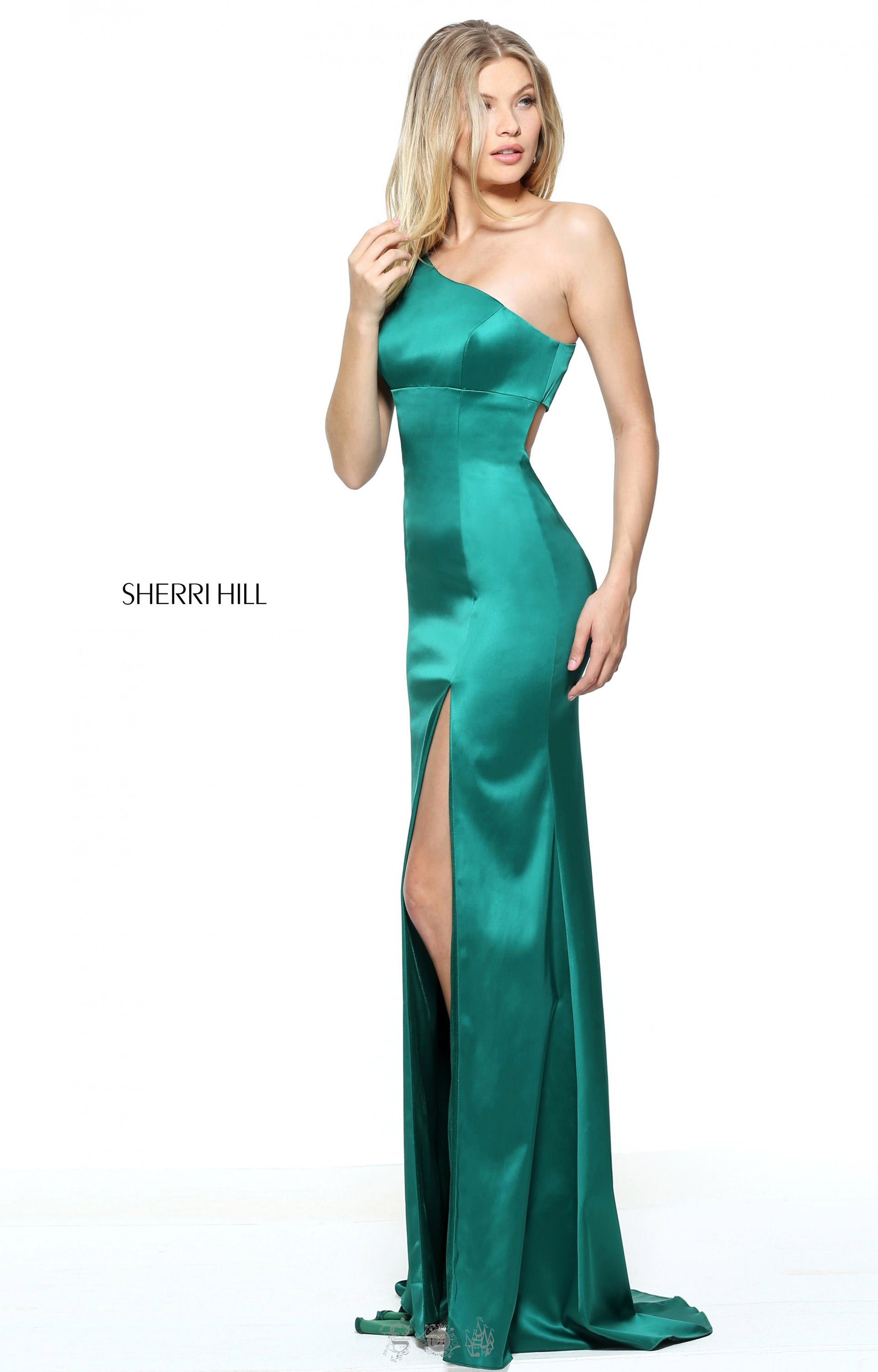 Sherri Hill 51007 - One Shoulder Fitted Satin Gown with Back ...
