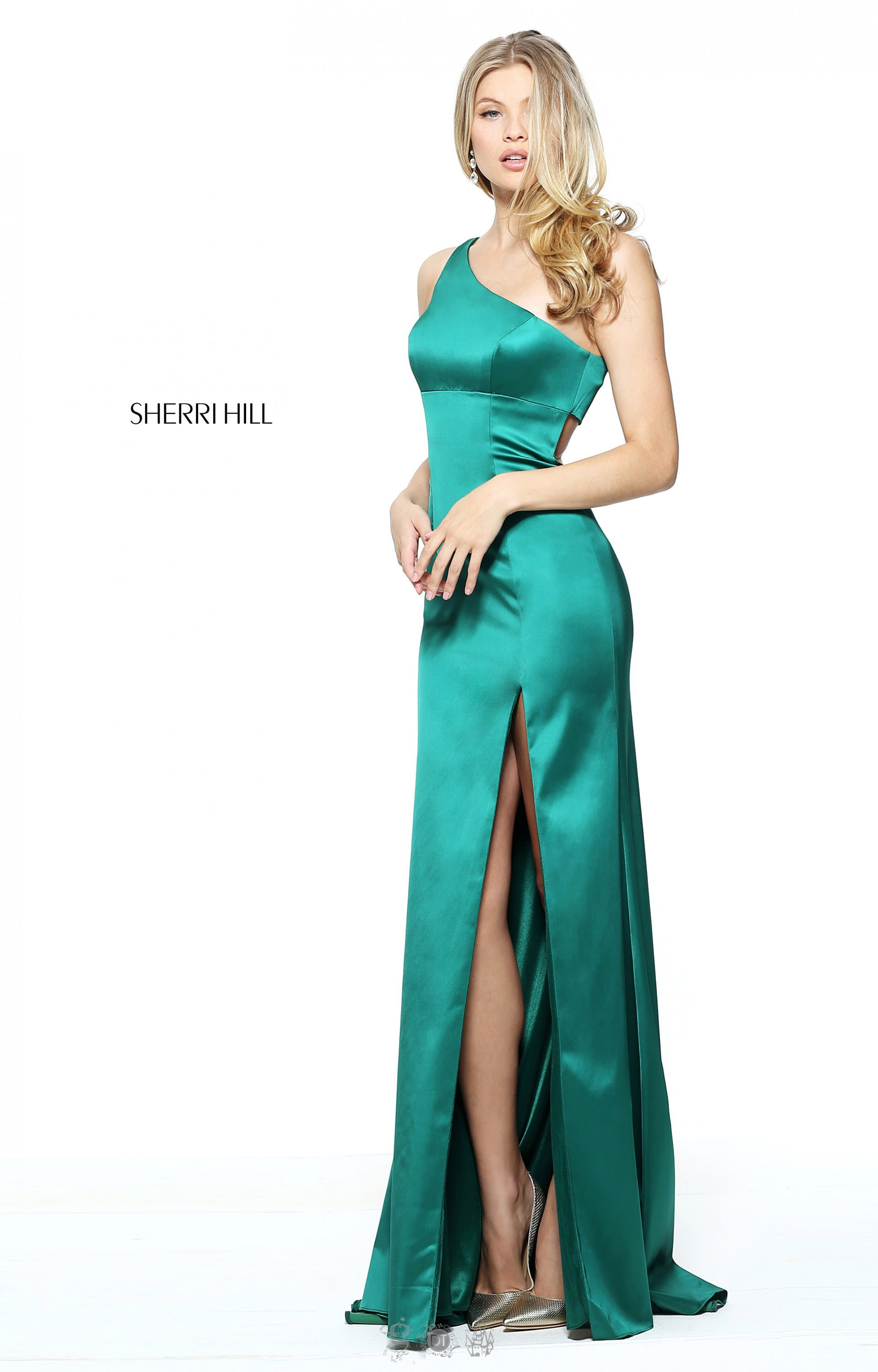Sherri Hill 51007 One Shoulder Fitted Satin Gown With