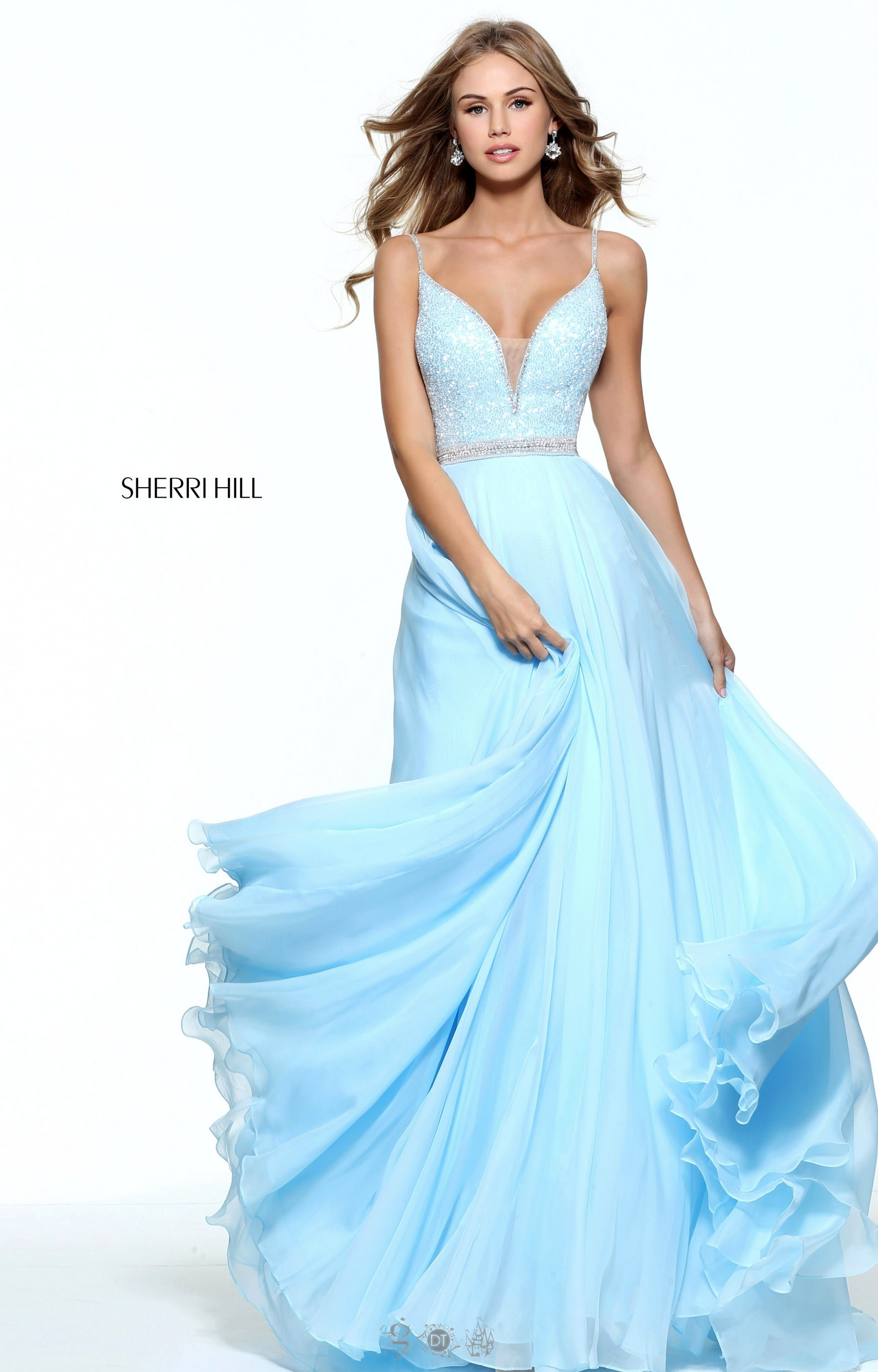 Sherri Hill 51009 Chiffon A Line Gown With Straps Prom Dress
