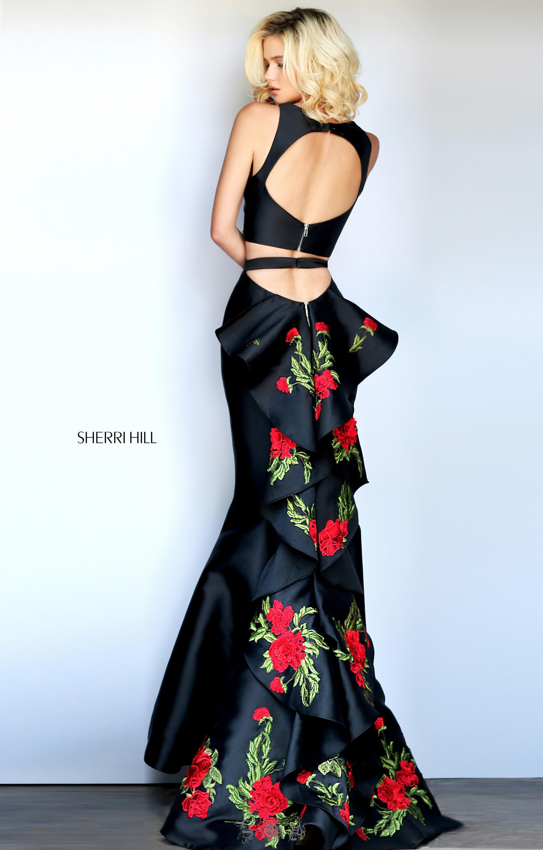 Sherri Hill 51027 - Long 2-Piece and Mermaid Halter Neckline Sleeveless Open Back Floral Ruffle ...