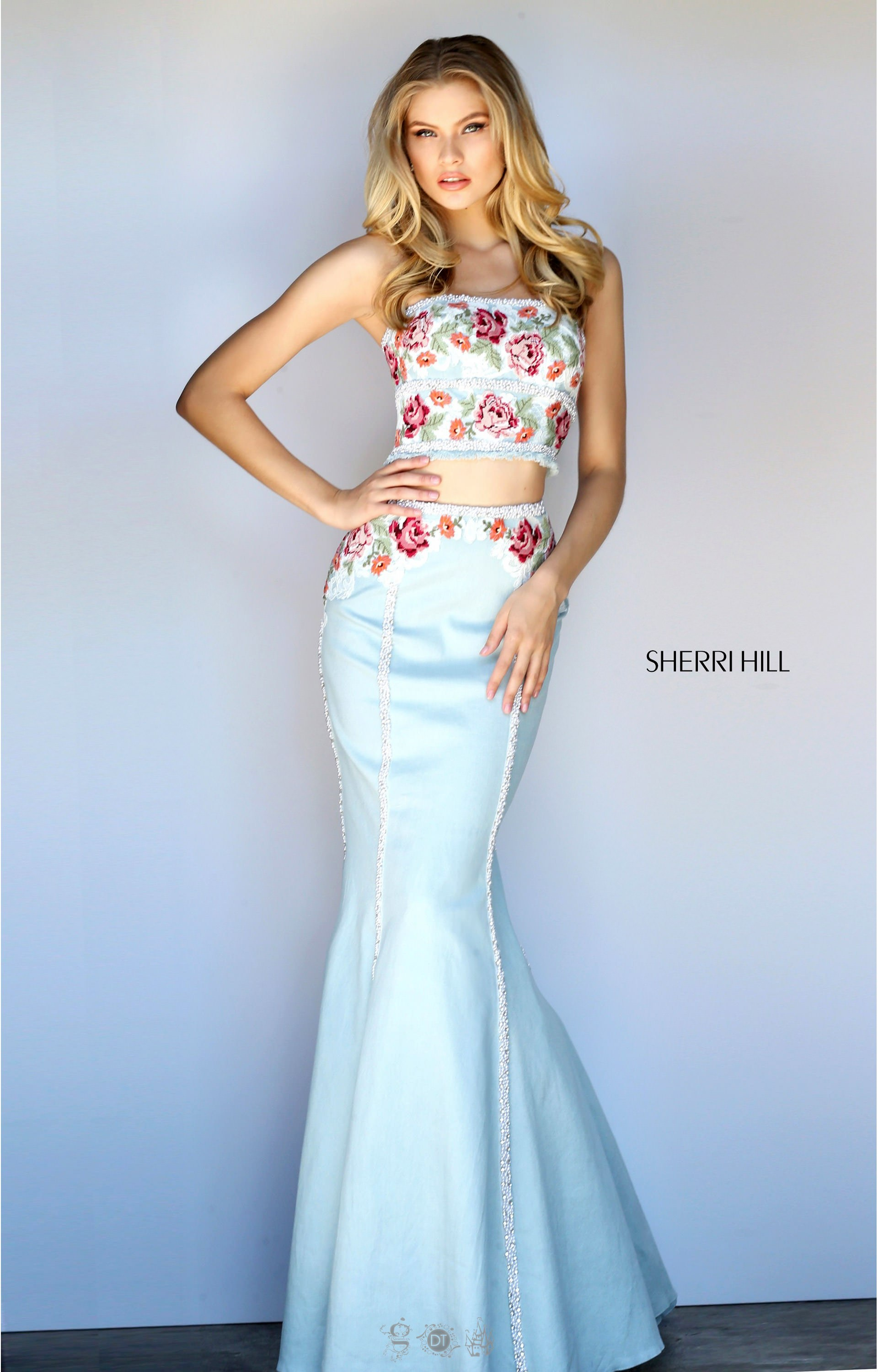 Sherri Hill 51060 Two Piece Crop Top Dress With