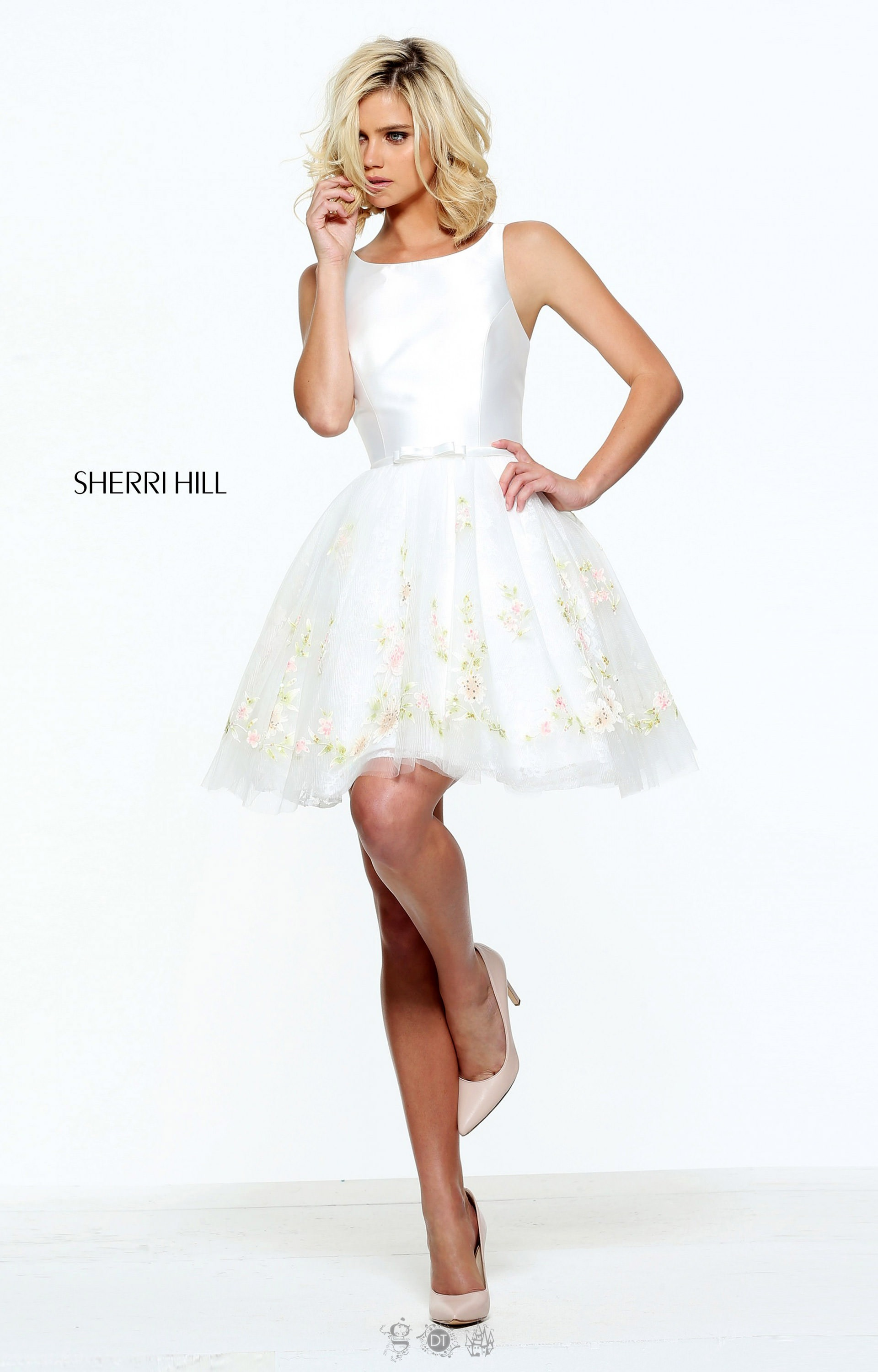 Sherri Hill 51066 - Short Fit and Flare Cocktail Dress with Boat ...