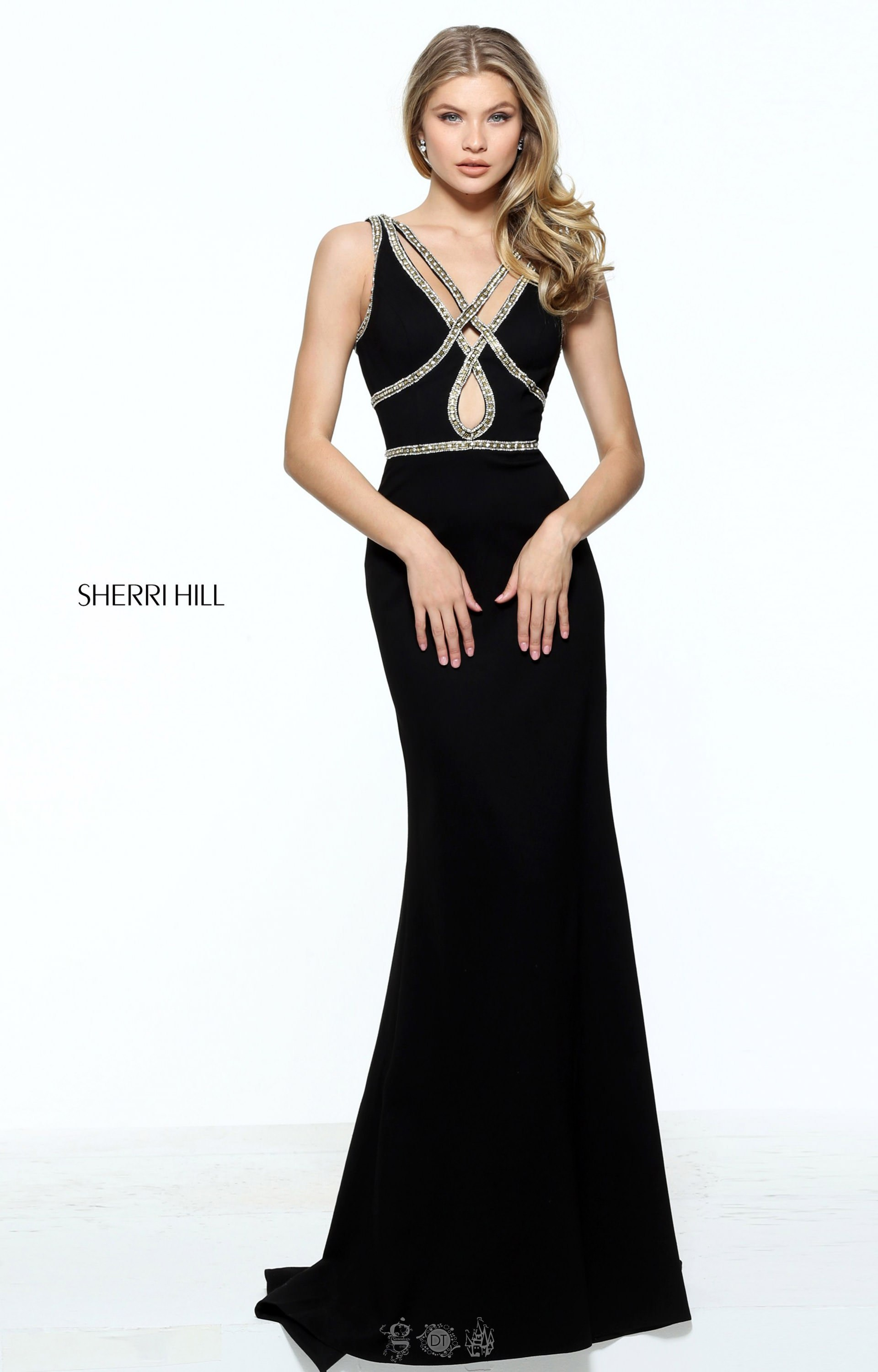 Sherri Hill 51069 - Criss Cross Strapped Dress with Jersey Knit ...