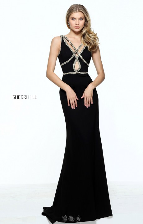 sherri hill 51069 criss cross strapped dress with jersey