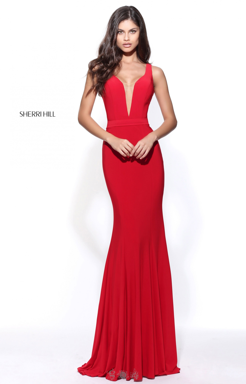 Sherri Hill 51096 - Classic Simple Dress with Deep V Neck