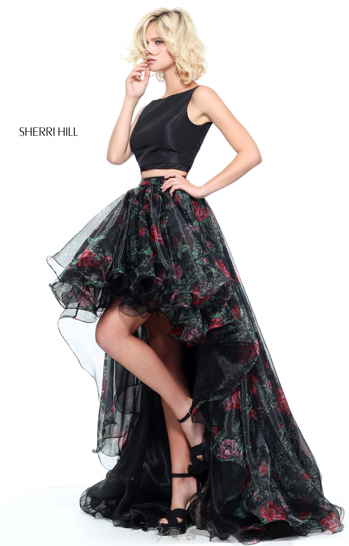 Sherri Hill 51098 2 Piece Hi Low Layered Floral Organza