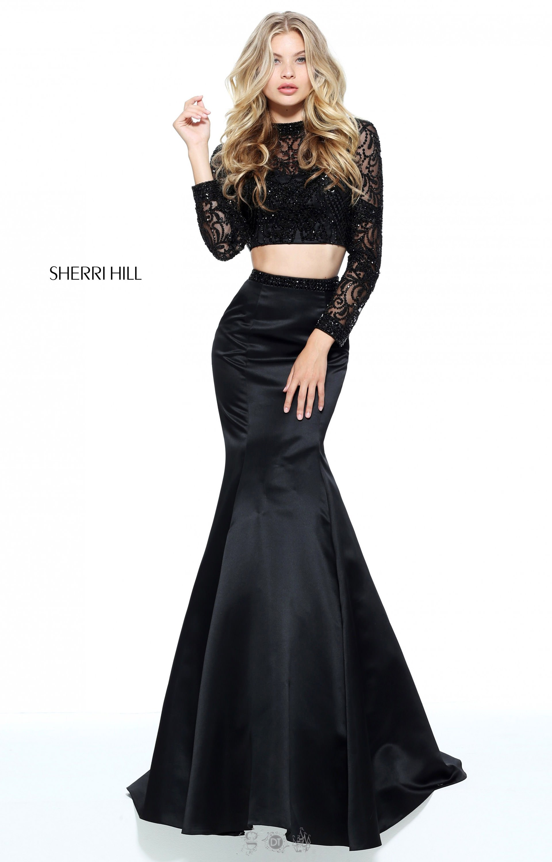 Sherri Hill 51107 - Two Piece Mermaid with Long Sleeves Prom Dress