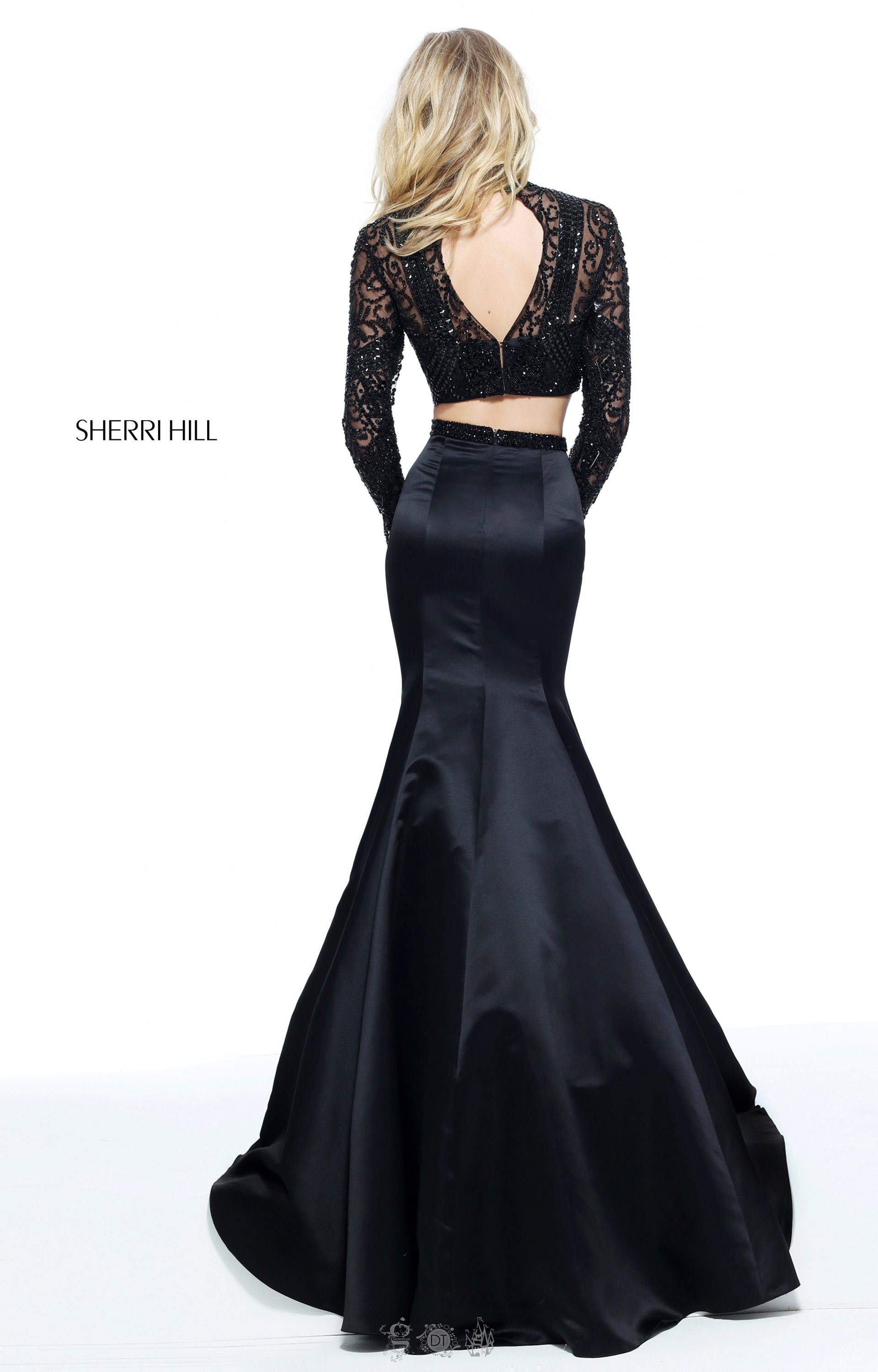 Sherri Hill 51107 Two Piece Mermaid With Long Sleeves