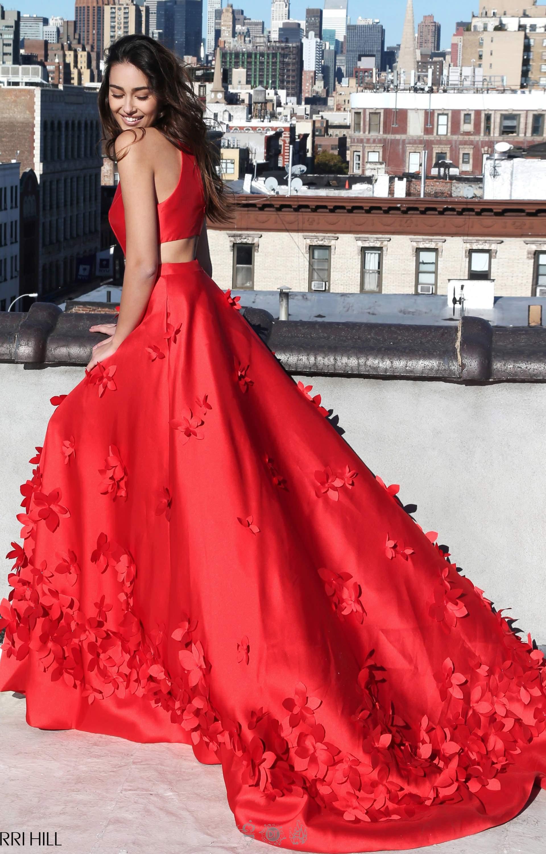 Sherri Hill 51116 - Halter Neckline 3D Flower Long Dress Prom Dress