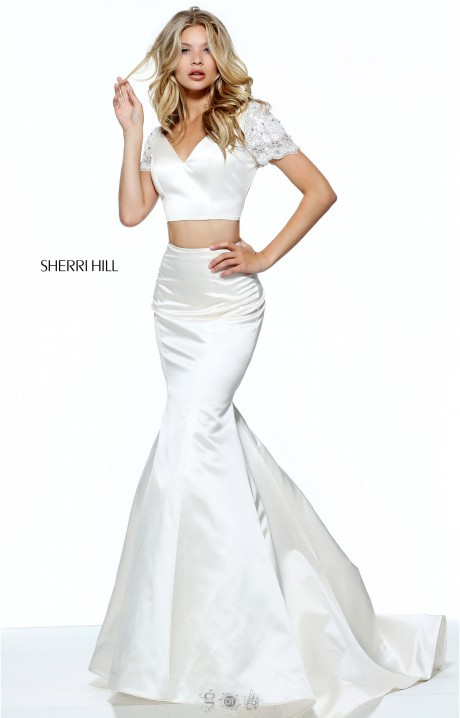 Sherri Hill 51119 Satin 2 Piece Mermaid With Beaded Cap
