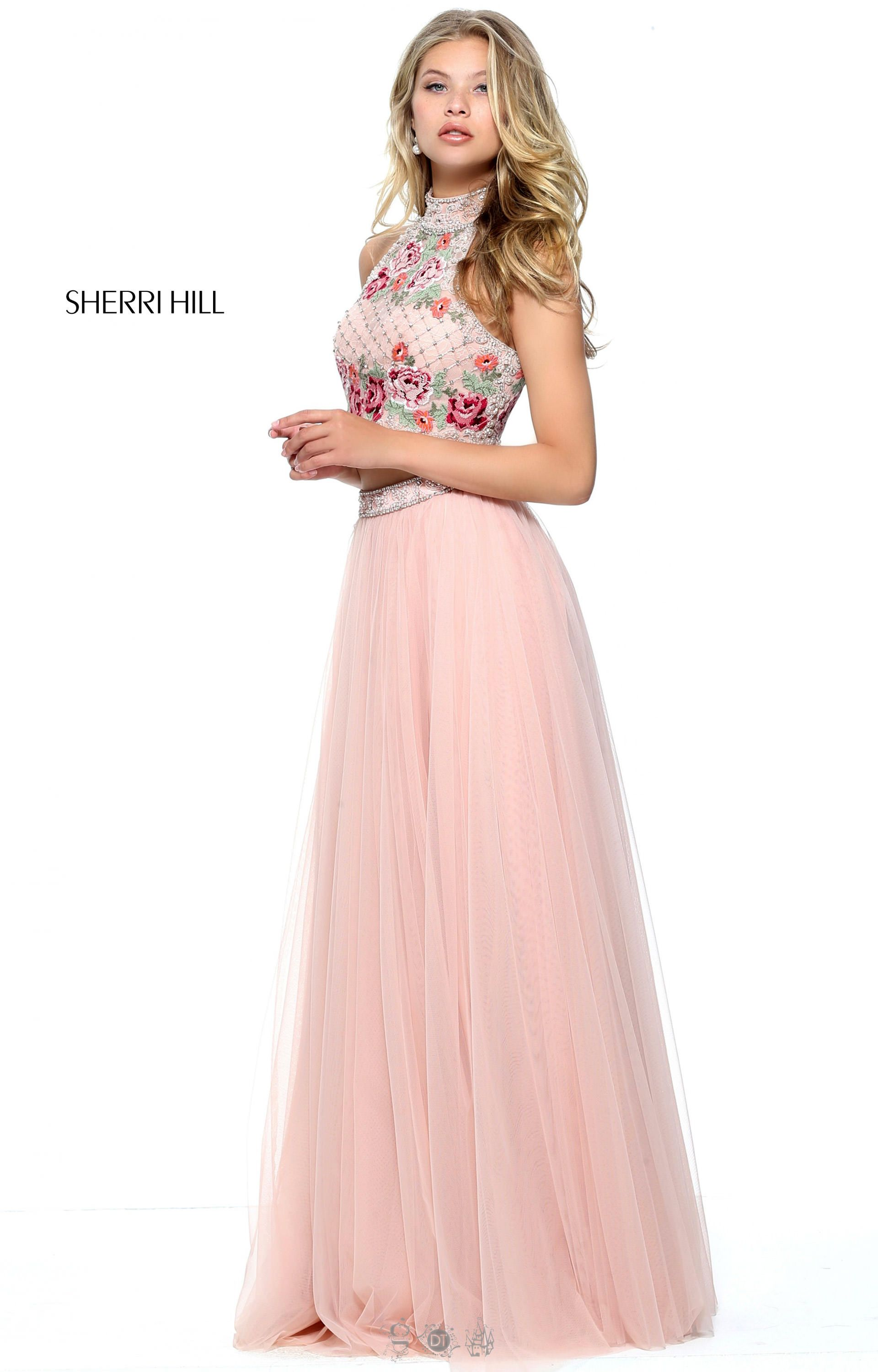 Sherri Hill 51121 - Rose Embroidered Two Piece Dress with Open Back ...