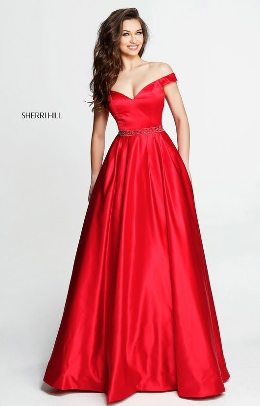Sherri Hill 51124 Long Ball Gown A Line Off The Shoulder Beaded