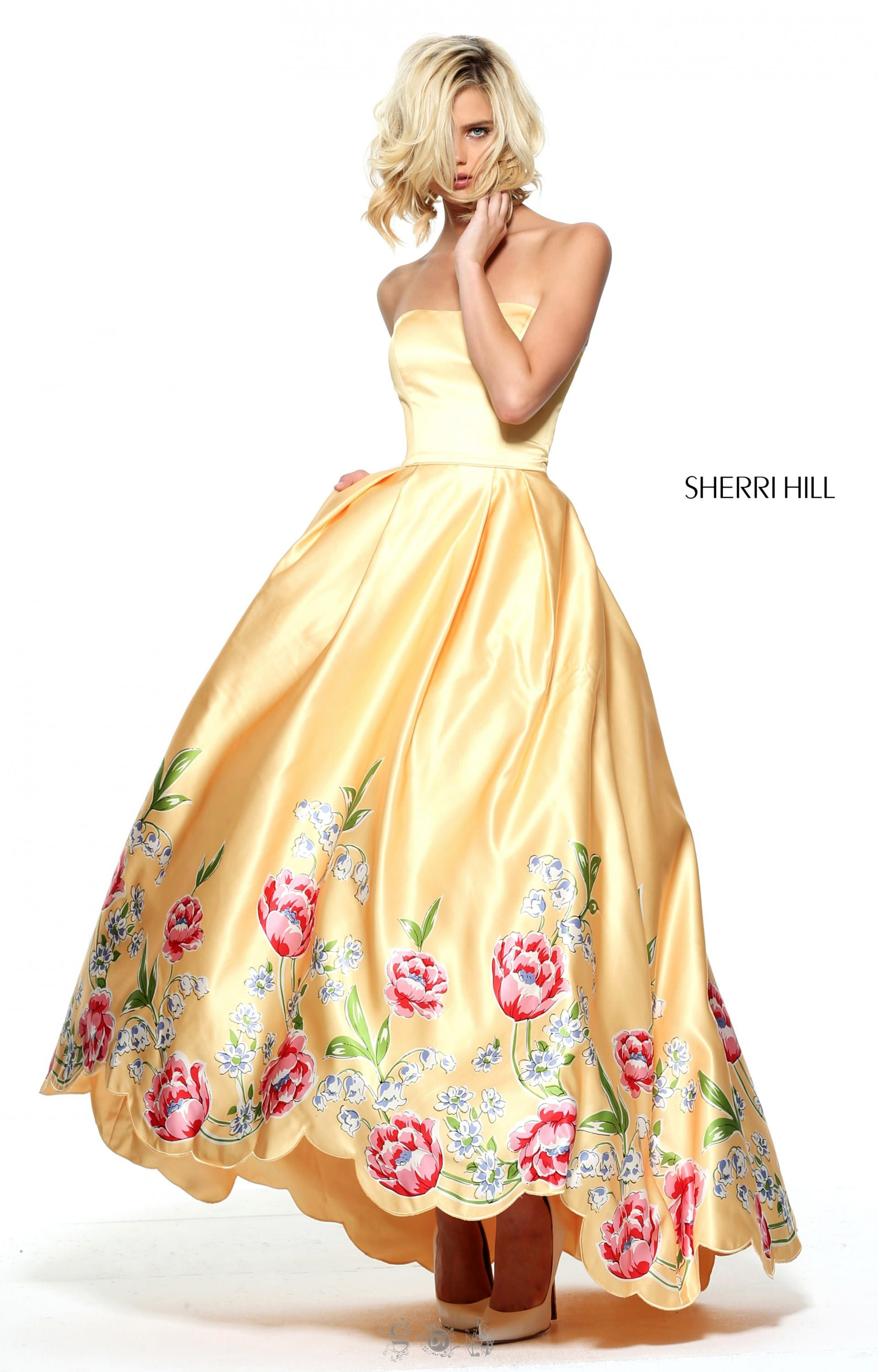 Sherri Hill 51139 Strapless Tea Length Ballgown With Scalloped