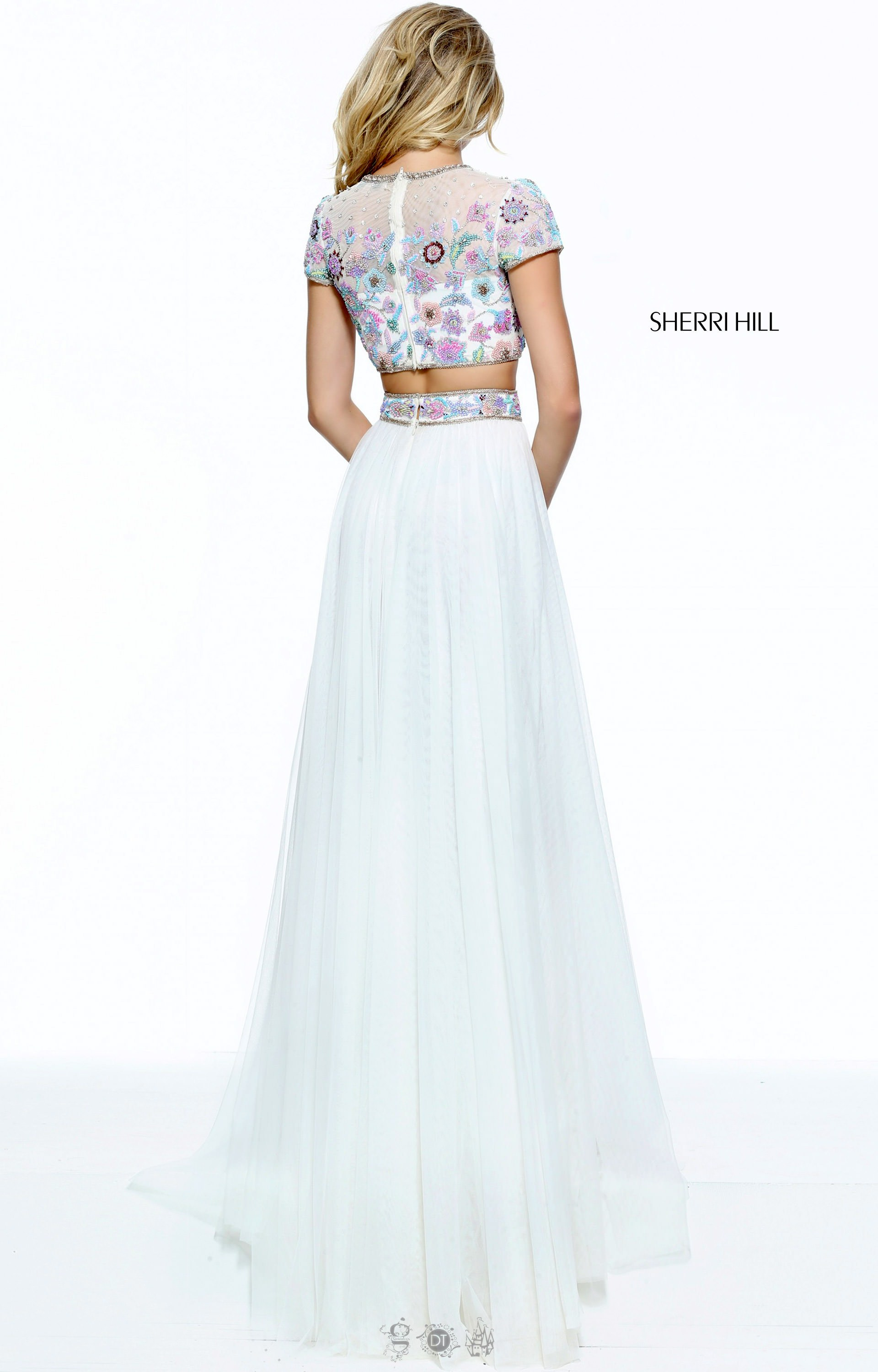 sherri hill 51152 floral crop top with high slit skirt