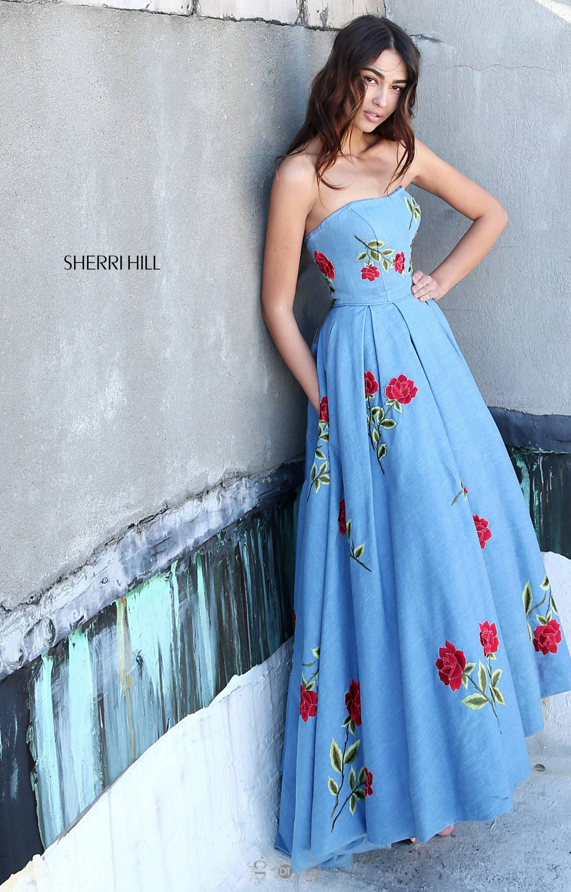 Sherri Hill 51154 - Denim and Roses A-Line Tea Length Ballgown Prom ...