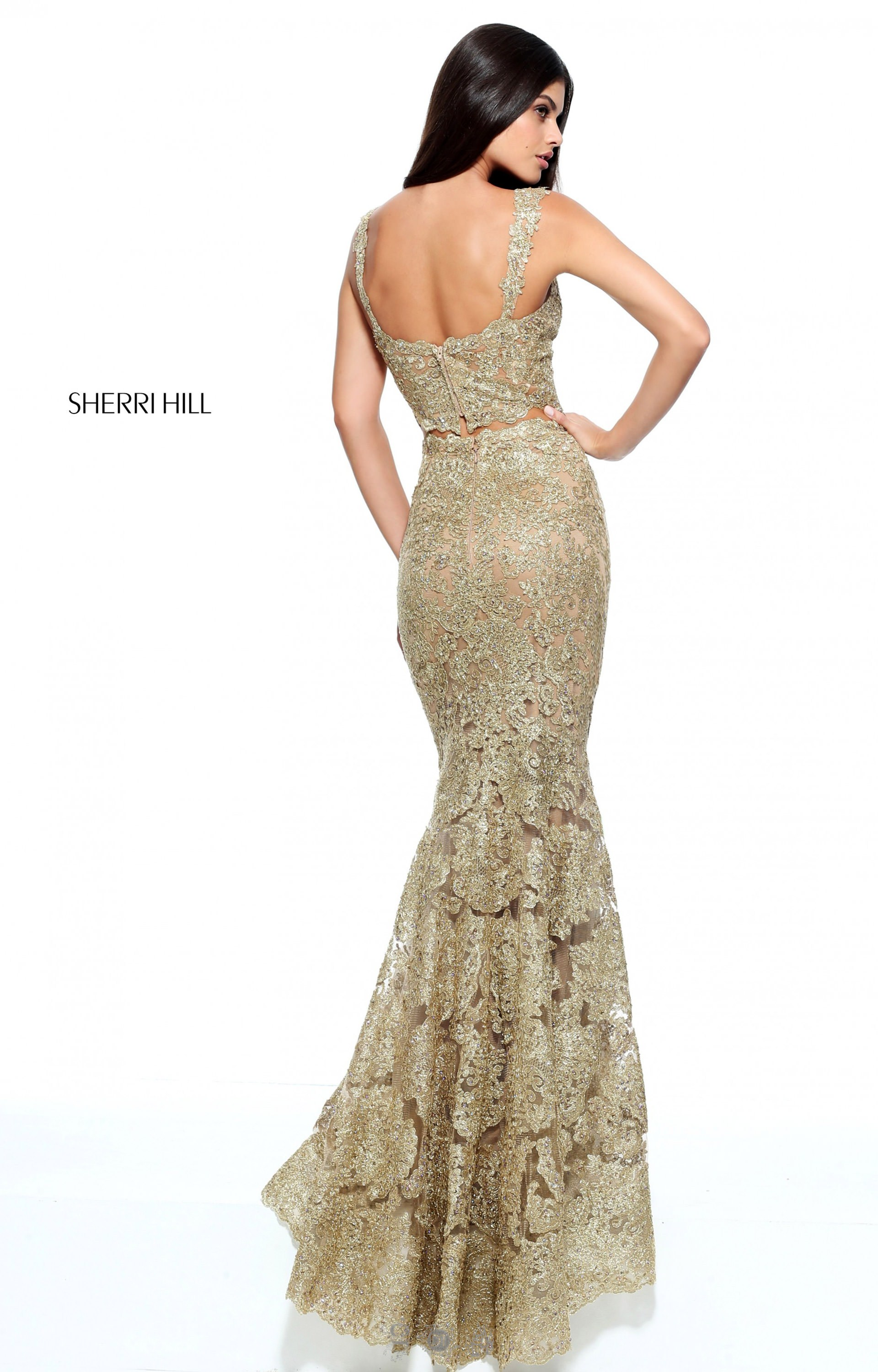 Sherri Hill 51192 Fitted Gold Sherri Hill Two Piece Prom