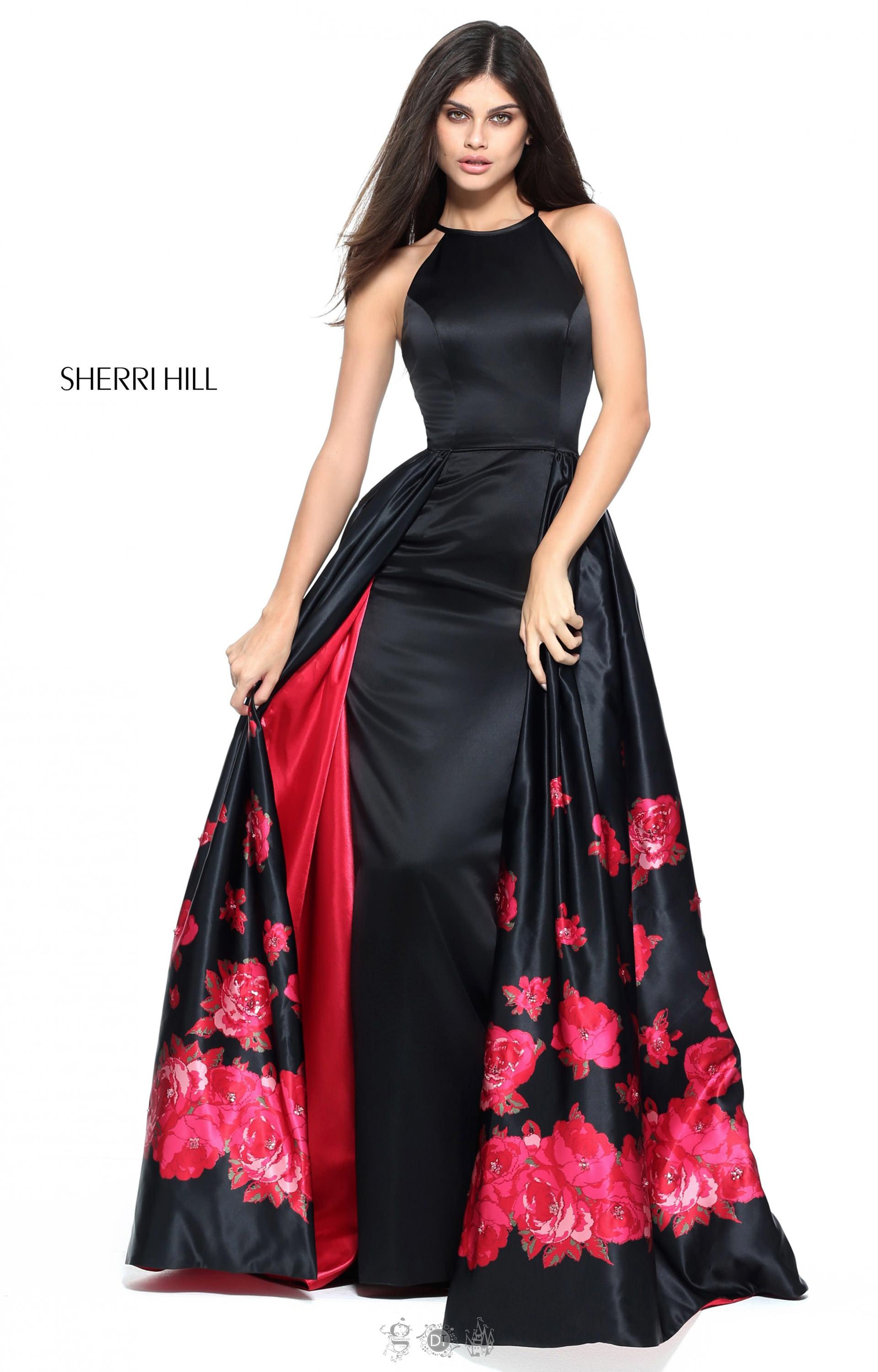 Sherri Hill 51193 Halter Floor Length Dress With Cape