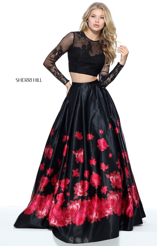 Sherri Hill 51195 - Two Piece Rose Printed Long Sleeve Dress Prom Dress