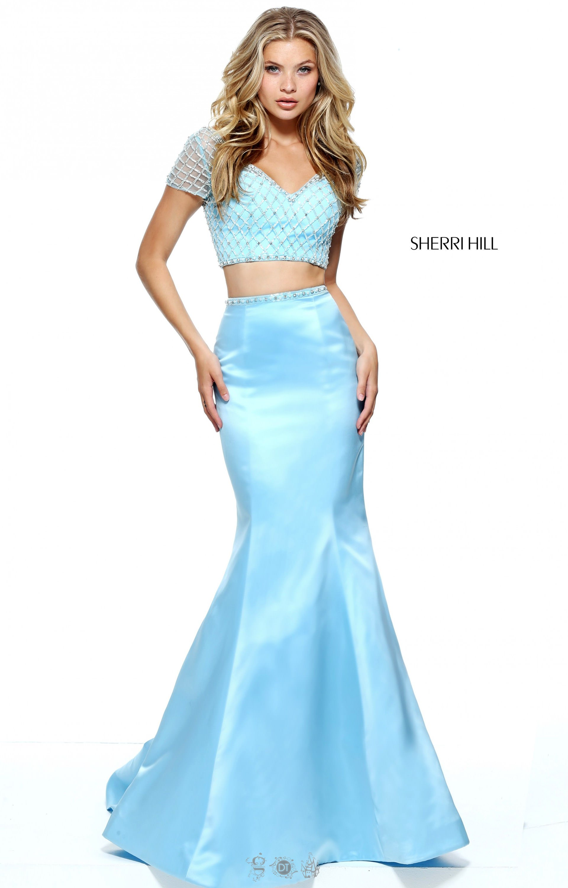 Sherri Hill 51196 Two Piece Open Back Mermaid With Short