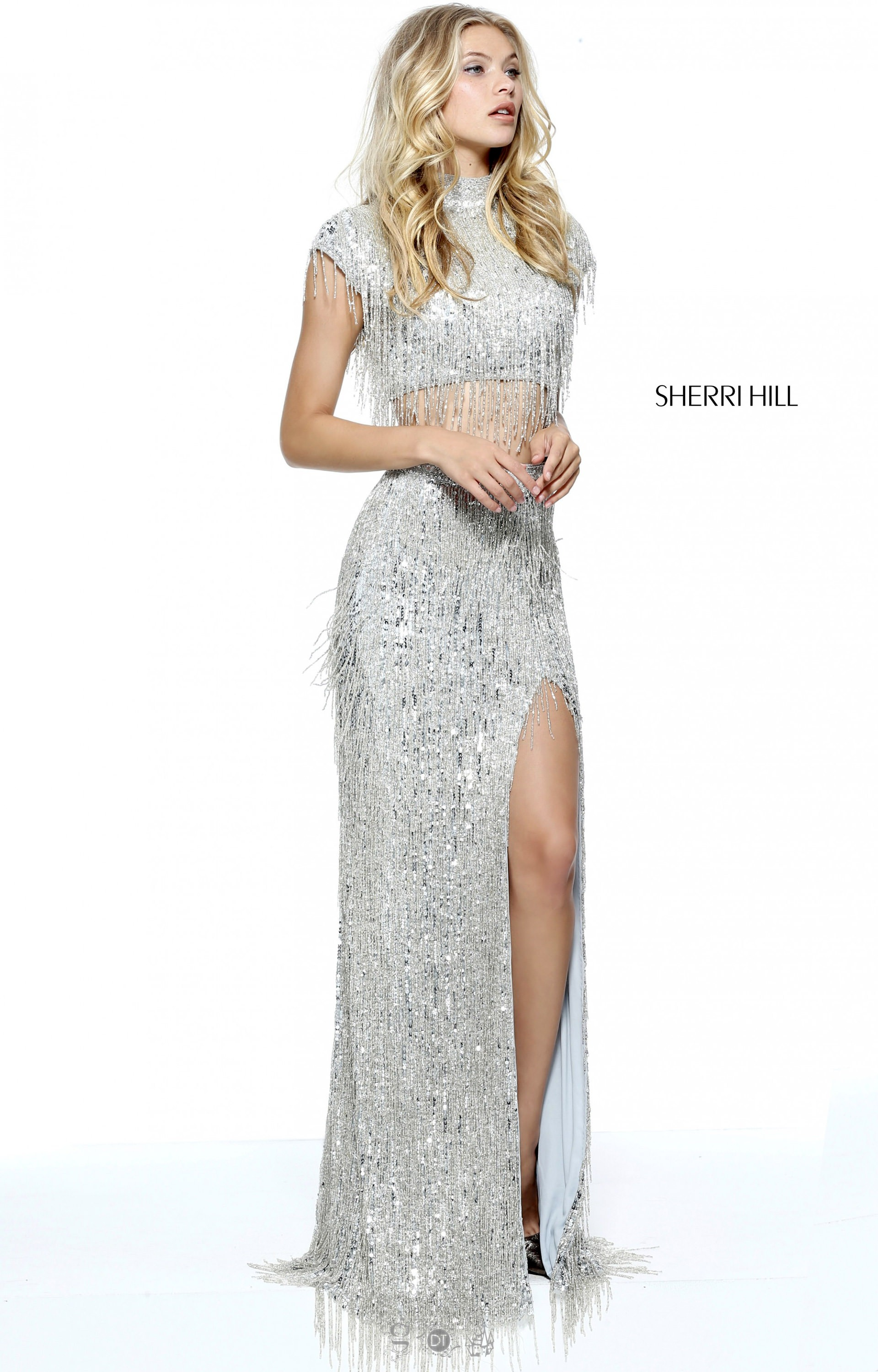 Sherri Hill 51220 Fringe Two Piece With Cap Sleeves Prom