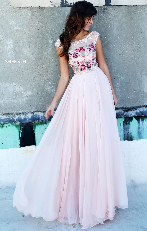 Sherri Hill 51249 Cap Sleeve Floral Print Ballgown Prom
