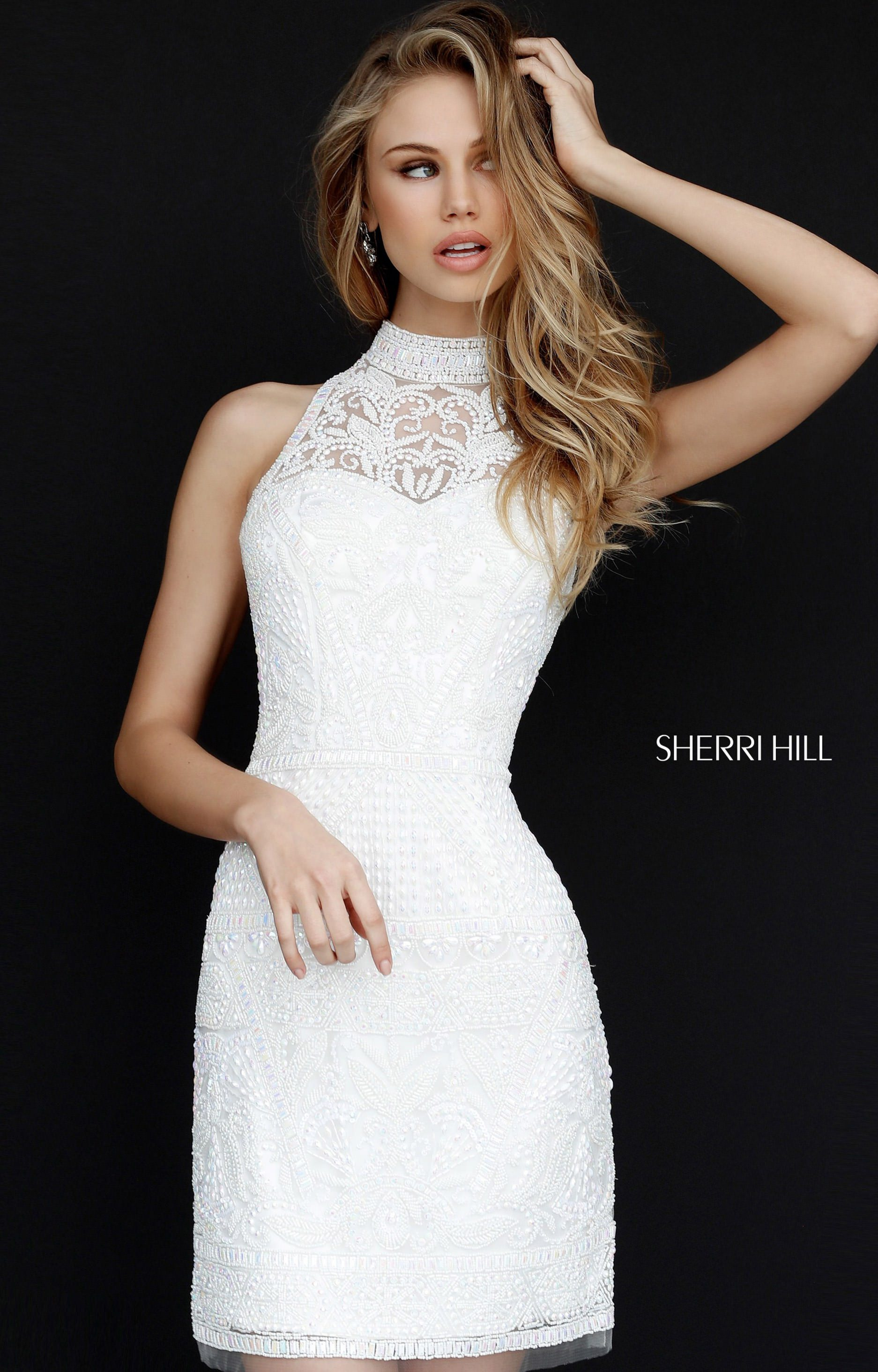 60512d40b4 Sherri Hill 51284 - Fancy Short Dress with Beads and Open Back