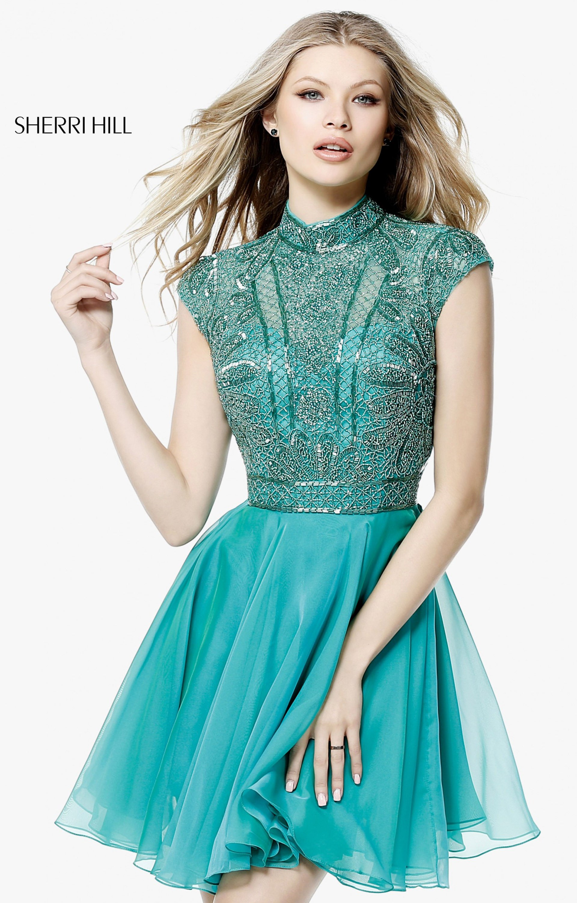 Sherri Hill 51291 - Romantic Short Beaded Dress with Cap Sleeves ...