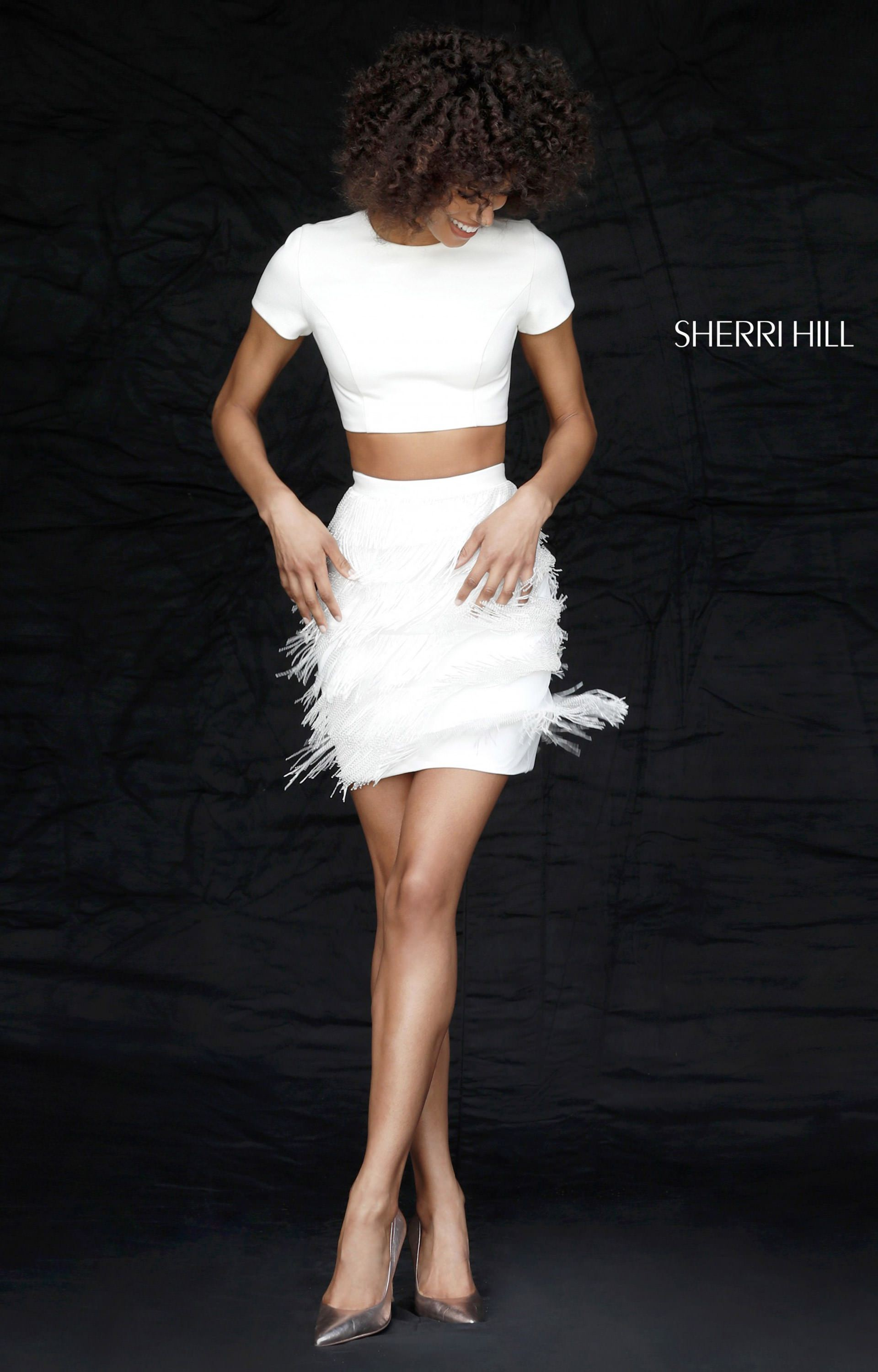 Sherri Hill 51339 Short Two Piece Dress With Fringe Prom