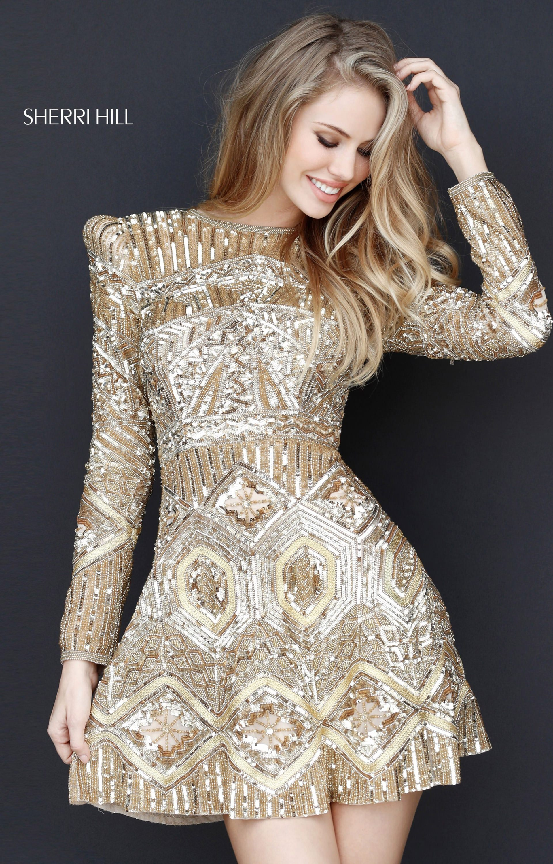 286cf05815 Sherri Hill 51343 - Short Long Sleeve Sequins Prom Dress
