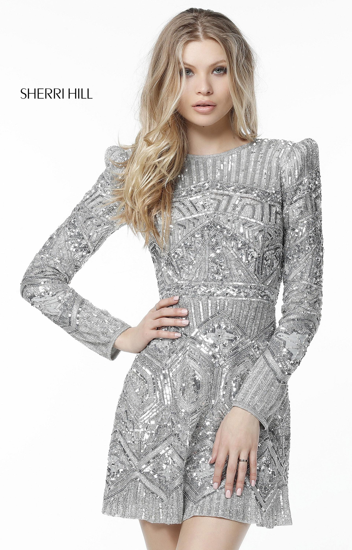 f8c32131a3 Sherri Hill 51343 - Short Long Sleeve Sequins