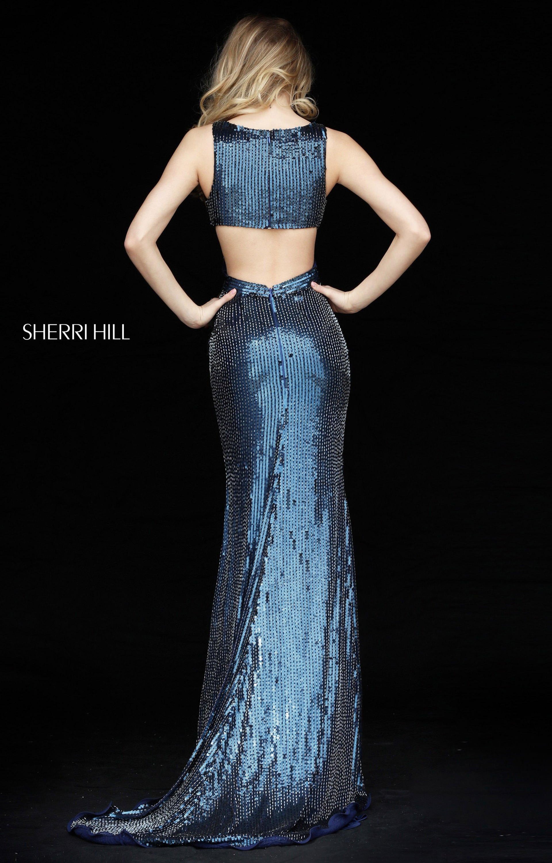 Sherri Hill 51364 - Fitted V-Neck Sequins Prom Dress