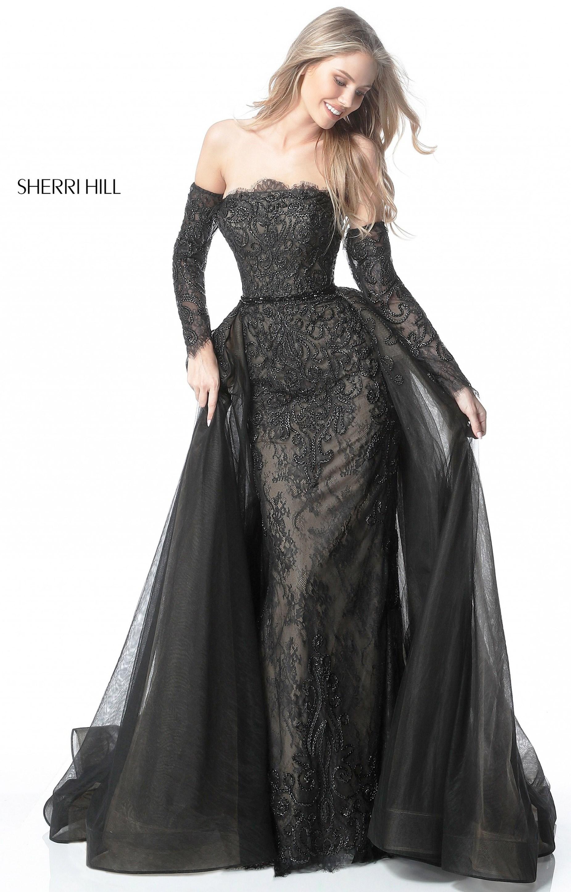 Sherri Hill 51384 - Long Sleeve Off the Shoulder Lace Prom Dress