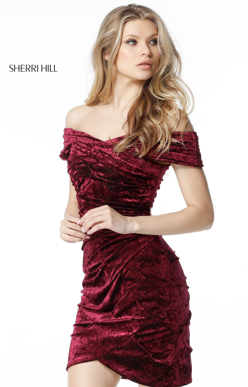 6cdc5c72e006 Sherri Hill 51402 - Short Off the Shoulder Crushed Velvet
